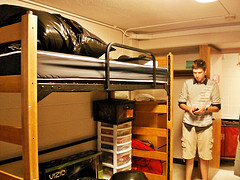 Dorm room in Cole Hall at University of Wisconsin Madison with bed lofted