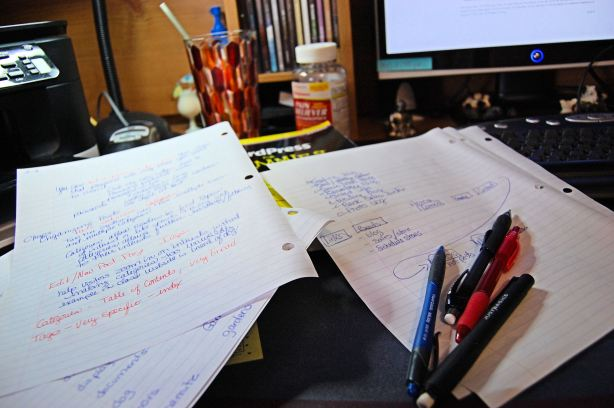 shot of my desk with notes from WordPress class