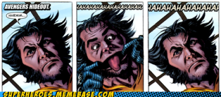comic book panels where Wolverine makes a face and sticks out his tongue