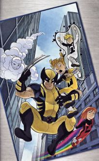 Wolverine is jumping  to ground between tall builds, he is in his blue and yellow costume surrounded by the Power Pack in the power forms.