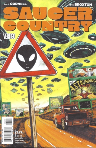 A lonely highway a red pick up stops to gape at a sky full of Saucers of various descriptions, billboards selling things to aliens, and a caution alien sign