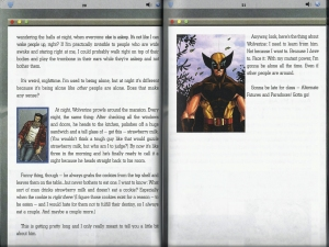Pages have computer screen themed frame text is written as if it is diary type blog