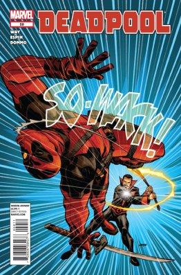 Black Tom Cassidy whacks Deadpool back toward the reader with a SO-WACK!