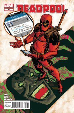 Deadpool looks at a tweet on his iPhone from Black Box stating that Deadpool is now killable.
