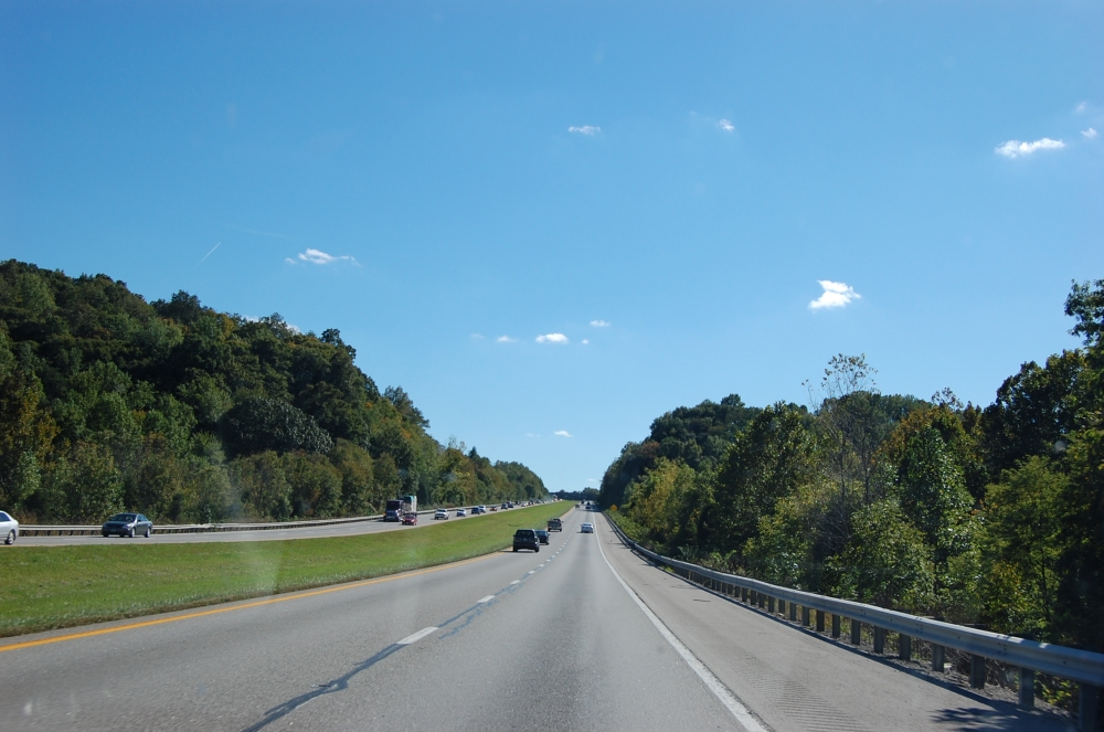 Interstate through Kentucky hills