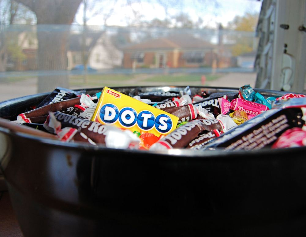 Candy bowl awaiting trick or treaters