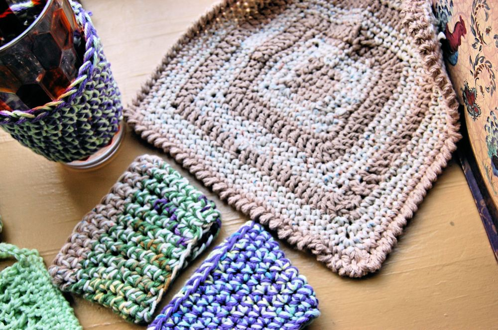 Coffee cozies and dish cloth I crocheted