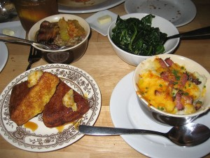 4.20.08 -Hungry Mohter- cornbread, hoppin' john, collards, grits by NoDame on Flickr.  Used under the Creative Commons 2.0 Attribution, non Commercial, Share Alike License granted.