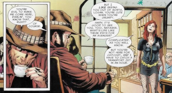 Logan waiting in a Russian Tea Room is just so cute!  Cudos to Black Widow for making him do it.