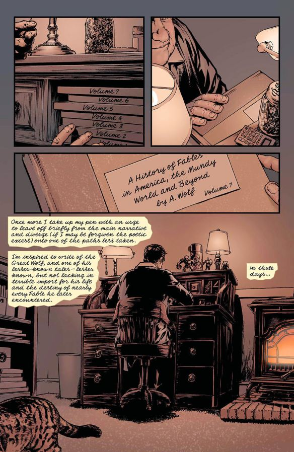 Here we learn Ambrose lives to adulthood and has a very comfortable life.  Also he's writing down the history of Fables in the Mundy world - now on Volume 7 of his work.  This is just the 2nd page of the story.
