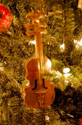 Golden Violin - Aaron played the Violin for years this ornament was purchased to remember those times from elementary through high school.