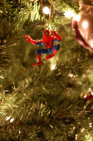 Couldn't find a Wolvie one but Aaron liked Spidy so with great decorations comes great responsibility - Spidy guards our tree