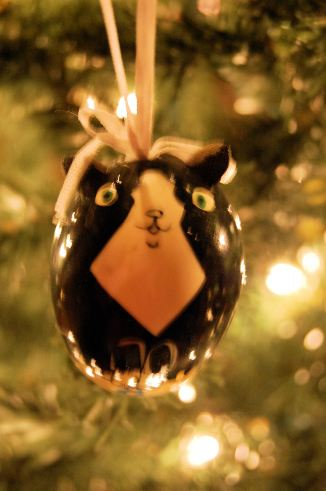 I've not had a tuxedo kitty in my adult life but this one of several of my kitty ornaments.  It's a hand painted egg one from Russia.  I like it very much and gives me hope that if the Cold War came to an end so can many other horrid things.
