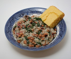 Hoppin' John with Mustard Greens by Morydd on Flickr.  Used under Creative Commons 2.0 No Commercial use, No Derivatives, Attribution License