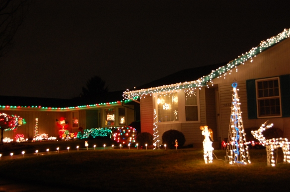 Neighboring decorated houses
