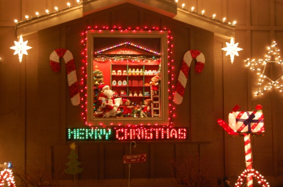 This house on Christmas lane has a miniature scene in the window every year.