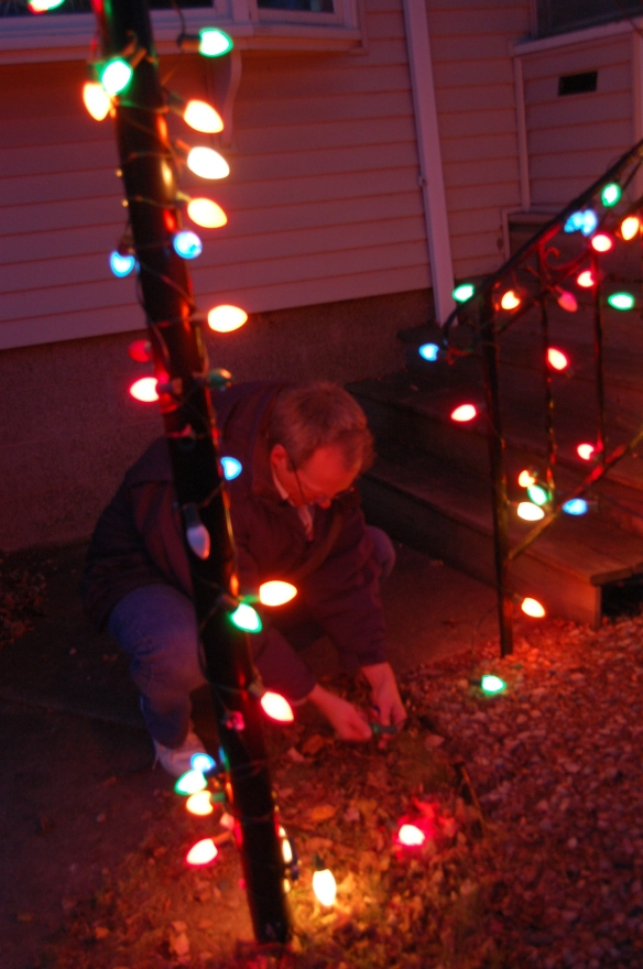 We are simple folk who go for a few simple strands of color. T he big bulbs like I remember being on trees of my childhood.