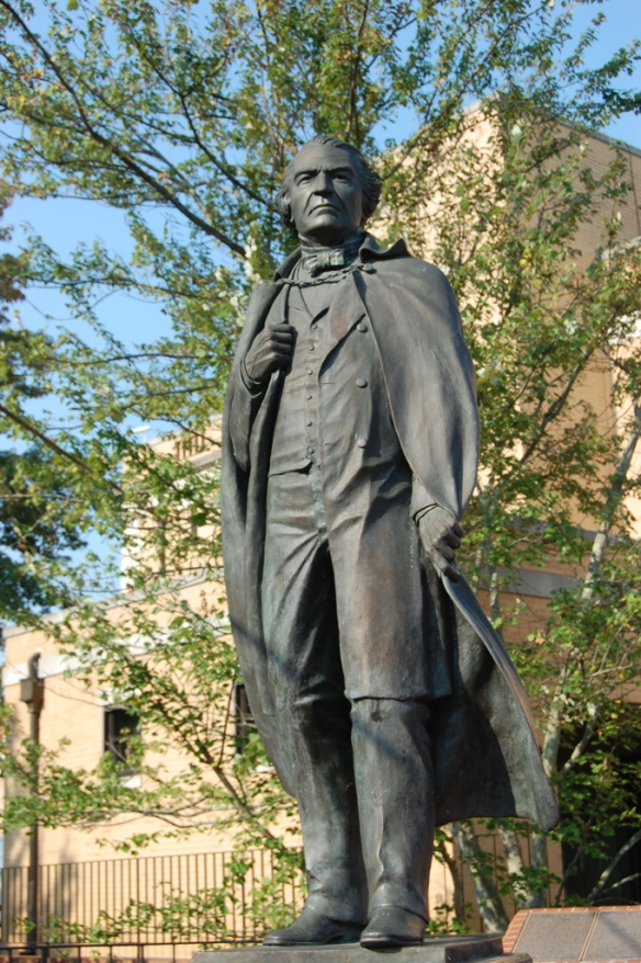 Statue of Andrew Johnson across the street from his tailor shop.