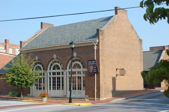 The exterior of the building built around the Johnson Tailor shop.  The addition to the building service as the visitor center for the National Park locations in Greeneville.