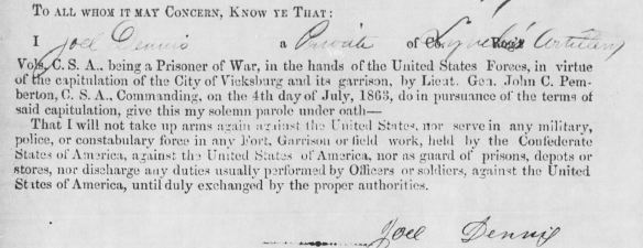 Confederate Pvt. Joel Dennis Jr's loyalty oath to the Union.