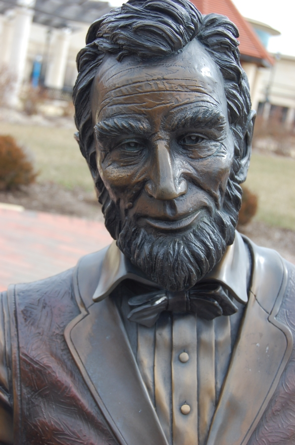 Lincoln statue outside the museum in a park