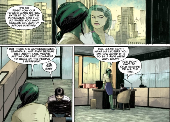 Apparently Matt Murdock (Daredevil) doesn't take INS cases.  So Northstar's attorney is She-Hulk. Oh yeah I'm sure deporting superheroes who have helped save the world and our country specifically is high on the to-do list.  Especially those pesky Canadians - look out Wolvie!