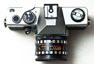 Praktica Super TL2 by Cezar Popescu from Flickr The Commons with no known copyright restrictions. This camera looks very much like the first SLR I used and learned about photography using.