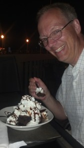 Mike enjoying a dessert while on vacation - Oct in Orlando