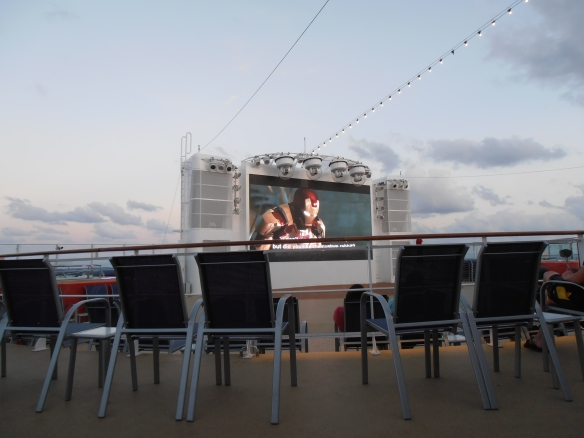 So the best place I've watched a movie this year was on deck of a cruise ship at sea in the Caribbean.