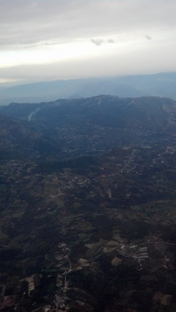 The Alps from the air on our flight to Naples