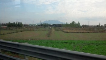 View of Vesuvius from the bus to the support site.