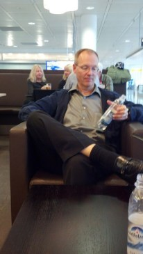 Mike contemplating his $4 water in the Munich airport