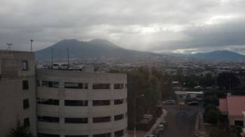 View out our bedroom window of Mount Vesuvius on a dreary day.