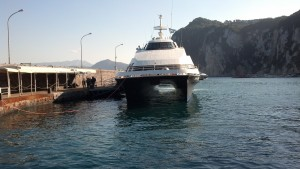 The hydrofoil ferry we took to and from Capri.  Photo by me