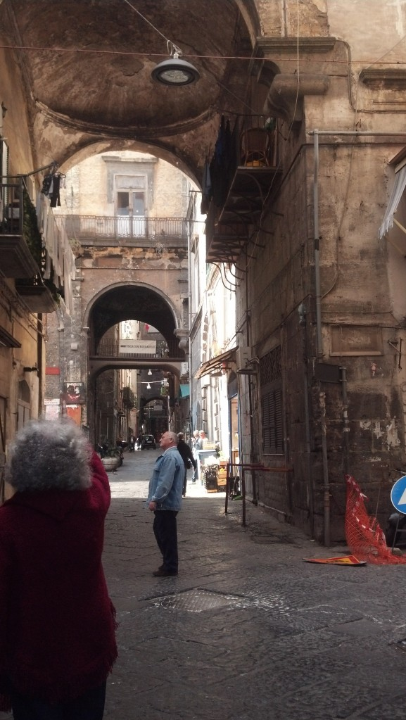 A typical street scene in the Old City of Naples.  We are off for coffee and pastries.