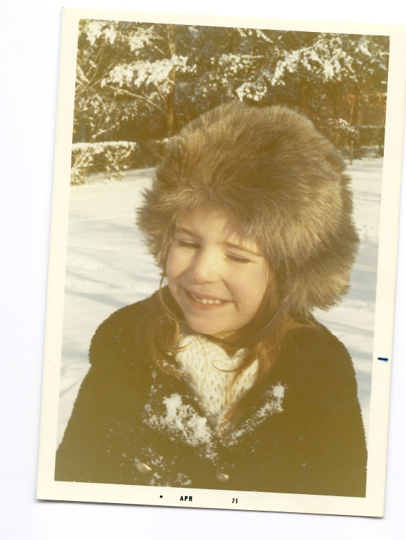 Bright, Mary Louise furry hat in the snow (5)