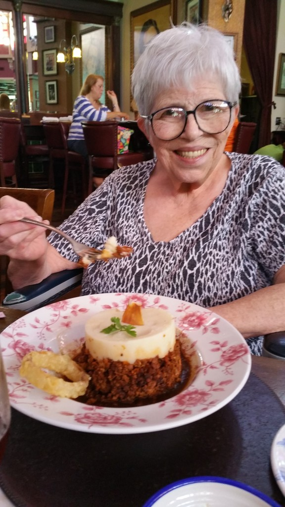 Mom enjoyed getting out and having lunch of a different style cuisine each day. Here she has cottage pie at Disney Village's Irish Pub.