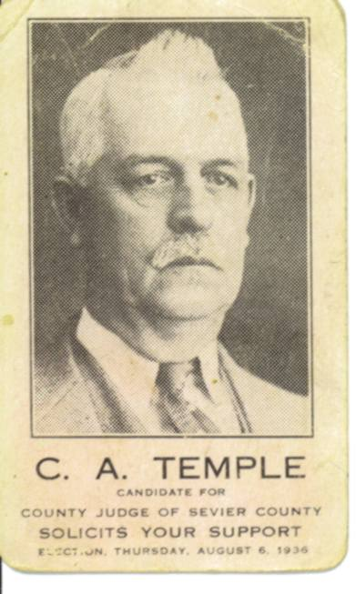 C A Temple Judge Campaign card 1936
