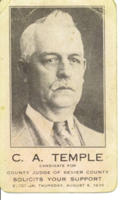 C A Temple Judge Campaign card 1936