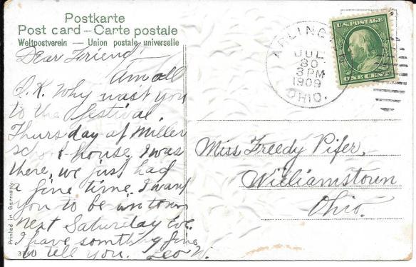 Violet postcard back