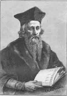 Edward Kelley in one of his hats with his hair covering his ears.