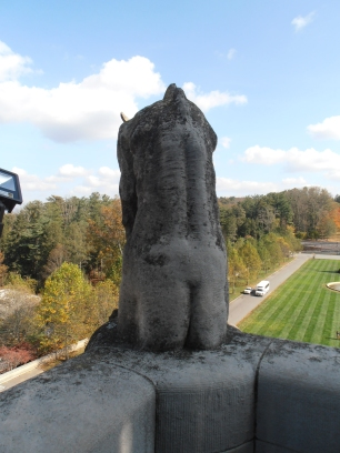 There's only one gargoyle on Biltmore without a tail. He's back is viewable from George's observatory balcony. Oh and I got a shot of his bum.