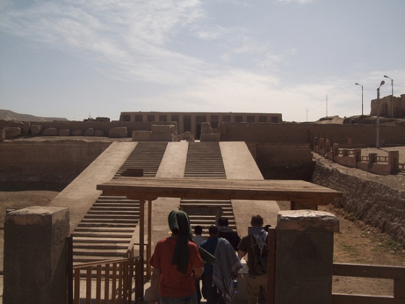 Entrance to Seti I Temple at Abydos (I) by Institute for the Study of the Ancient World on Flickr. Who offer free digital photography related to the ancient world as part of its Ancient World Image Bank initiative. This image was offered under Creative Commons Attribution 2.0 .